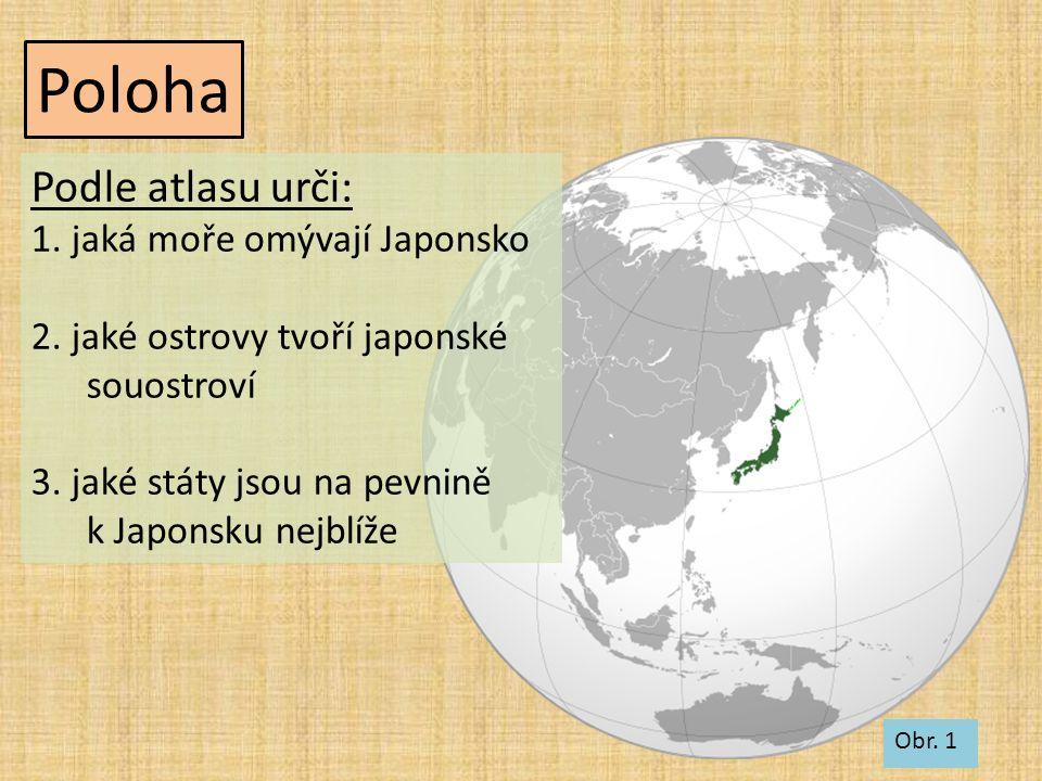 Poloha Obr. 1 Podle atlasu urči: 1. jaká moře omývají Japonsko 2. jaké ostrovy tvoří japonské souostroví 3. jaké státy jsou na pevnině k Japonsku nejb