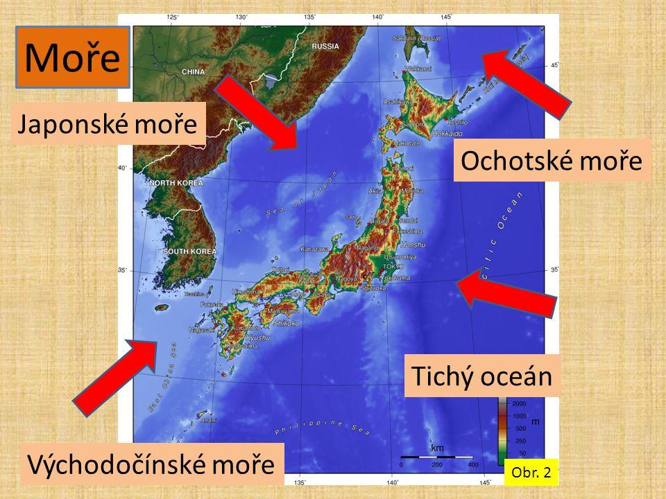 Japonské moře Tichý oceán Ochotské moře Východočínské moře Moře Obr. 2