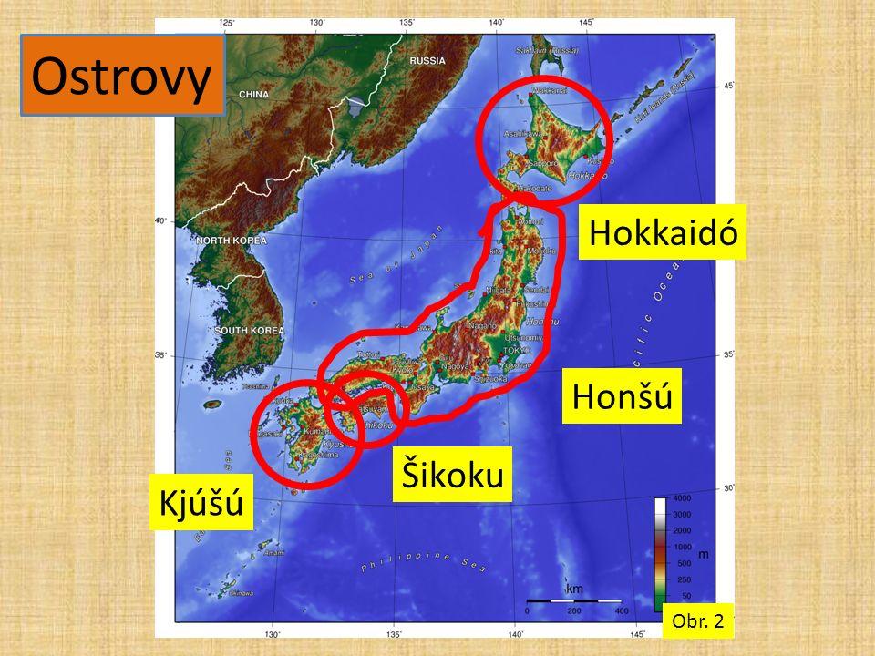 Ostrovy Kjúšú Šikoku Honšú Hokkaidó Obr. 2