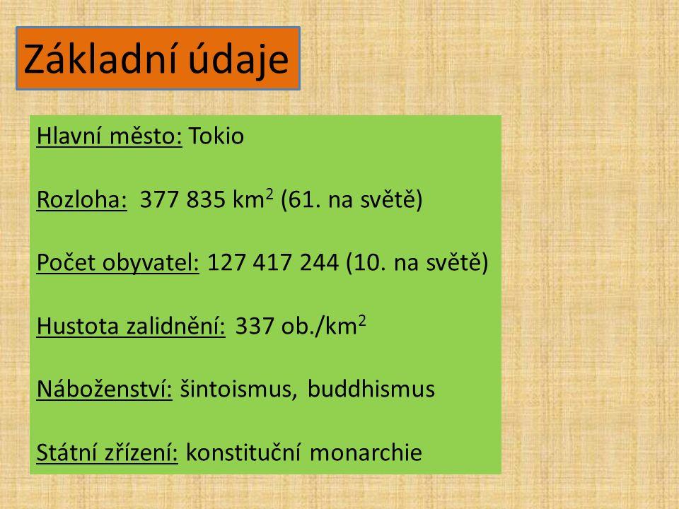 Základní údaje Hlavní město: Tokio Rozloha: 377 835 km 2 (61. na světě) Počet obyvatel: 127 417 244 (10. na světě) Hustota zalidnění: 337 ob./km 2 Náb