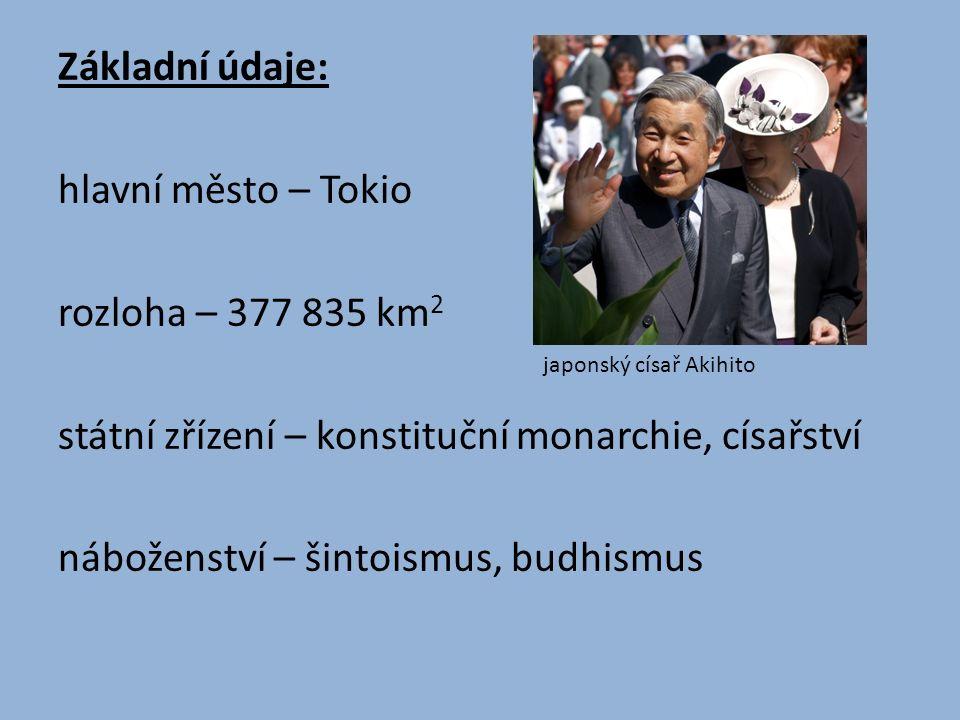 Základní údaje: hlavní město – Tokio rozloha – 377 835 km 2 státní zřízení – konstituční monarchie, císařství náboženství – šintoismus, budhismus japonský císař Akihito