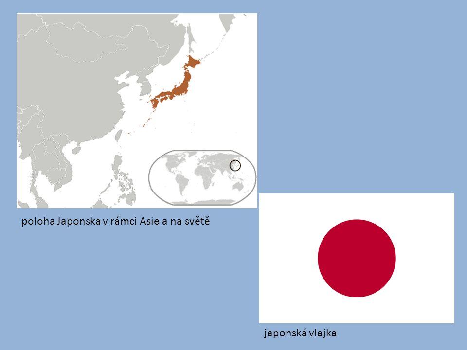 Přírodní poměry: převážně hornatý stát největší ostrovy jsou Hokkaidó, Honšú, Šikoku a Kjúšú symbolem Japonska je sopka Fudži častá zemětřesení, Japonsko se nachází na hranici tří tektonických desek, vlny tsunami podnebí – sever mírné (monzunové proudění, mořské proudy, tajfuny), jih subtropické 60% území je zalesněno