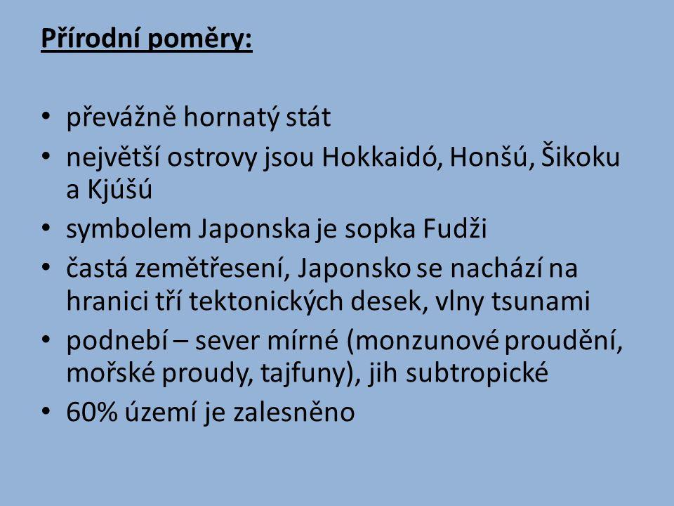 Přírodní poměry: převážně hornatý stát největší ostrovy jsou Hokkaidó, Honšú, Šikoku a Kjúšú symbolem Japonska je sopka Fudži častá zemětřesení, Japon