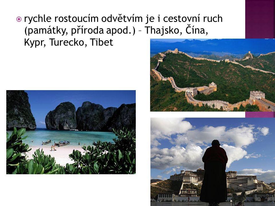  rychle rostoucím odvětvím je i cestovní ruch (památky, příroda apod.) – Thajsko, Čína, Kypr, Turecko, Tibet