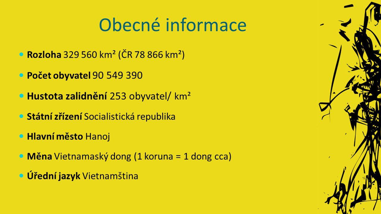 Obecné informace Rozloha 329 560 km² (ČR 78 866 km²) Počet obyvatel 90 549 390 Hustota zalidnění 253 obyvatel/ km² Státní zřízení Socialistická republika Hlavní město Hanoj Měna Vietnamaský dong (1 koruna = 1 dong cca) Úřední jazyk Vietnamština