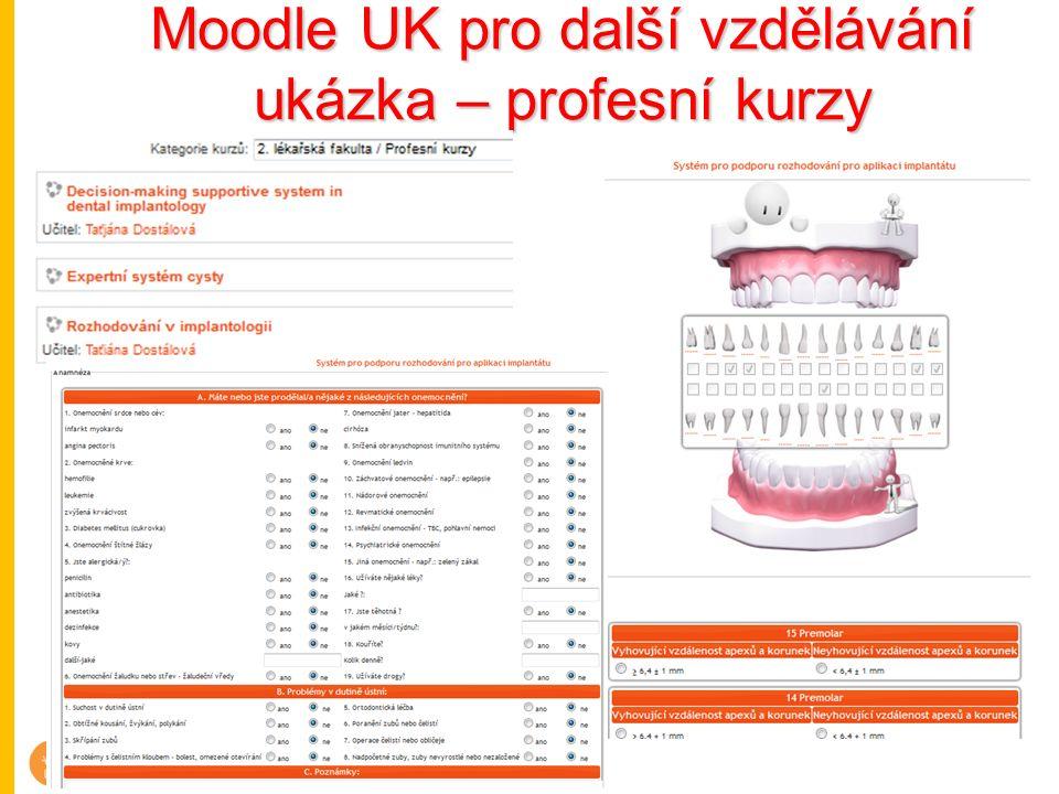 Moodle UK pro další vzdělávání ukázka – profesní kurzy