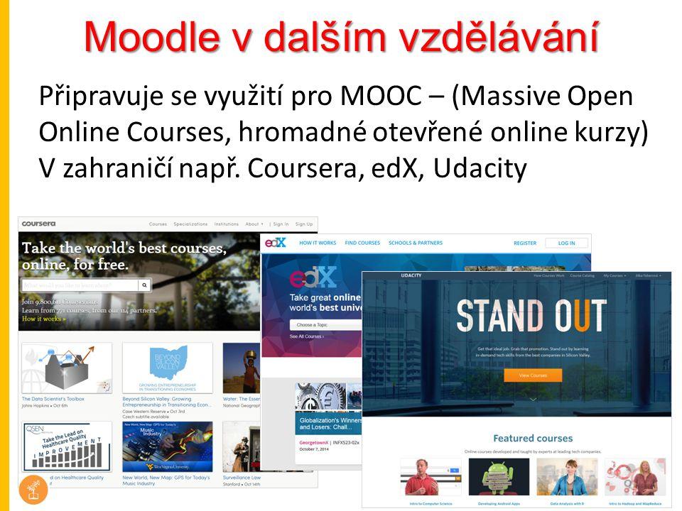 Moodle v dalším vzdělávání Připravuje se využití pro MOOC – (Massive Open Online Courses, hromadné otevřené online kurzy) V zahraničí např. Coursera,