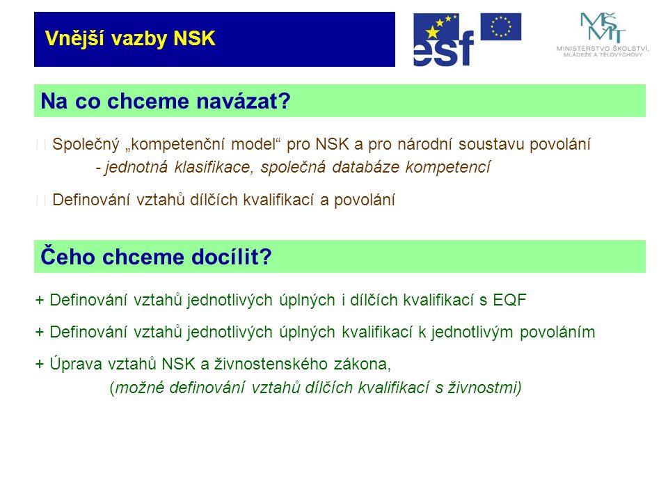 Vnější vazby NSK Na co chceme navázat. Čeho chceme docílit.