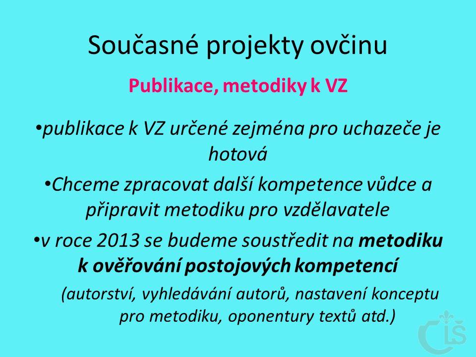 Současné projekty ovčinu Publikace, metodiky k VZ publikace k VZ určené zejména pro uchazeče je hotová Chceme zpracovat další kompetence vůdce a připravit metodiku pro vzdělavatele v roce 2013 se budeme soustředit na metodiku k ověřování postojových kompetencí (autorství, vyhledávání autorů, nastavení konceptu pro metodiku, oponentury textů atd.)