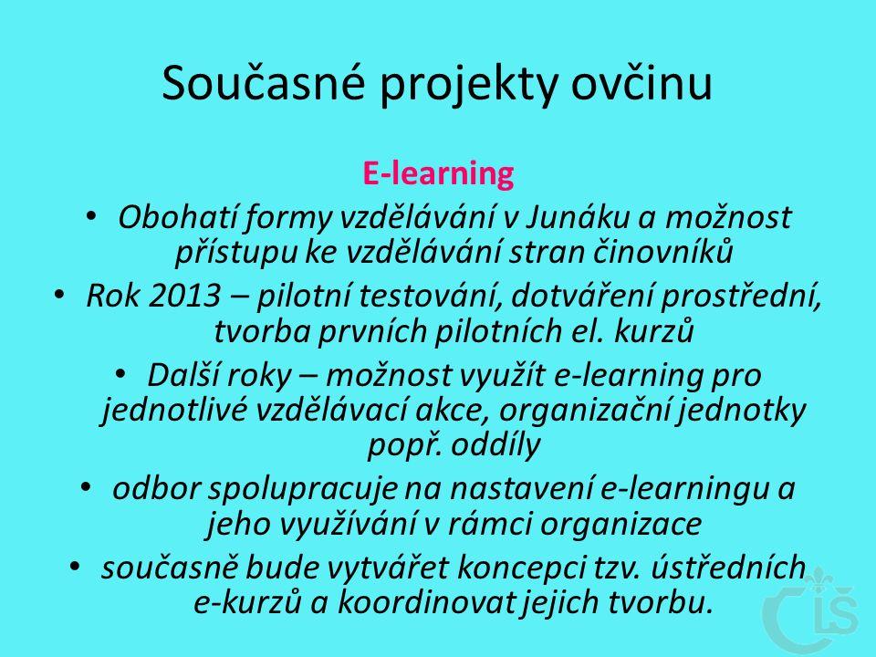 Současné projekty ovčinu E-learning Obohatí formy vzdělávání v Junáku a možnost přístupu ke vzdělávání stran činovníků Rok 2013 – pilotní testování, dotváření prostřední, tvorba prvních pilotních el.