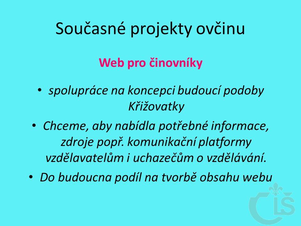 Současné projekty ovčinu Web pro činovníky spolupráce na koncepci budoucí podoby Křižovatky Chceme, aby nabídla potřebné informace, zdroje popř.