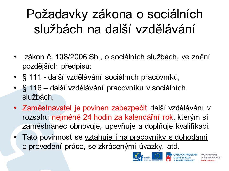 Požadavky zákona o sociálních službách na další vzdělávání zákon č.