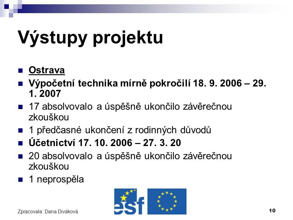 10 Zpracovala: Dana Diváková Výstupy projektu Ostrava Výpočetní technika mírně pokročilí 18.