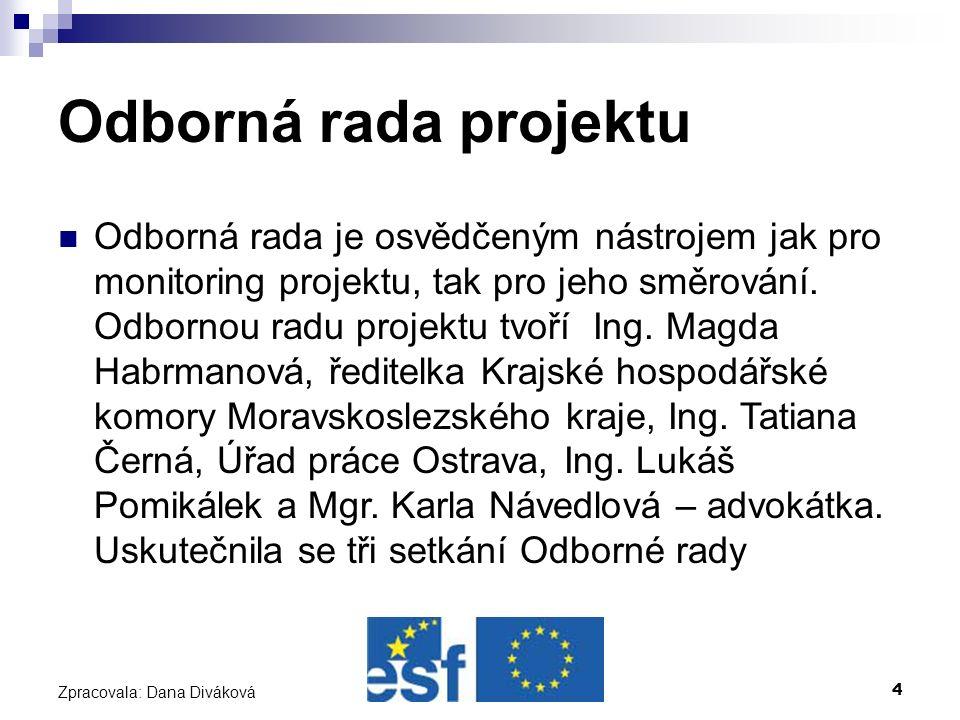 4 Zpracovala: Dana Diváková Odborná rada projektu Odborná rada je osvědčeným nástrojem jak pro monitoring projektu, tak pro jeho směrování.