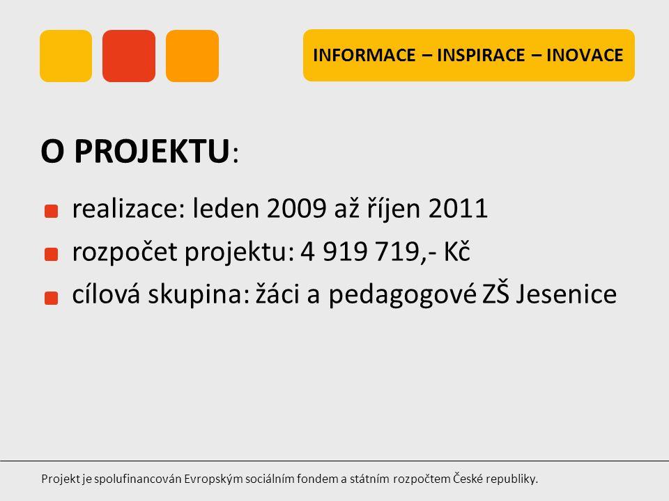 INFORMACE – INSPIRACE – INOVACE Projekt je spolufinancován Evropským sociálním fondem a státním rozpočtem České republiky. realizace: leden 2009 až ří