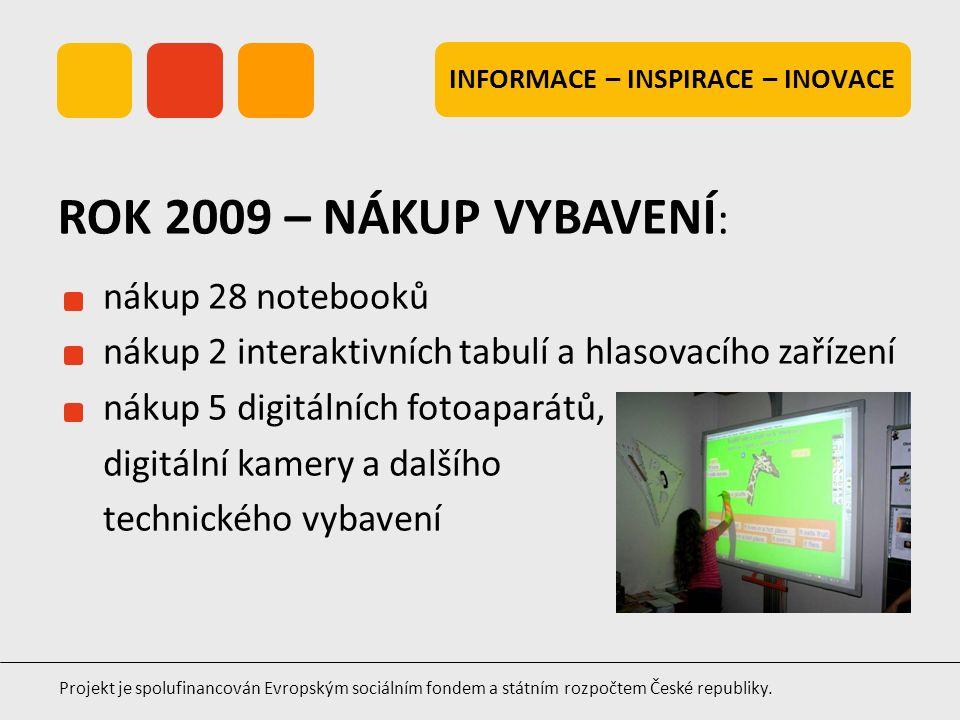 INFORMACE – INSPIRACE – INOVACE Projekt je spolufinancován Evropským sociálním fondem a státním rozpočtem České republiky. nákup 28 notebooků nákup 2