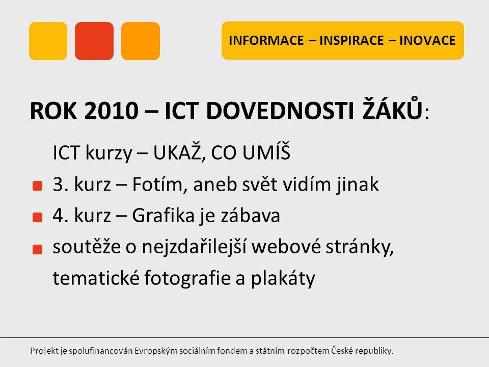 INFORMACE – INSPIRACE – INOVACE Projekt je spolufinancován Evropským sociálním fondem a státním rozpočtem České republiky. ICT kurzy – UKAŽ, CO UMÍŠ 3