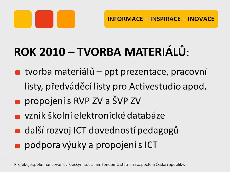 INFORMACE – INSPIRACE – INOVACE Projekt je spolufinancován Evropským sociálním fondem a státním rozpočtem České republiky. tvorba materiálů – ppt prez