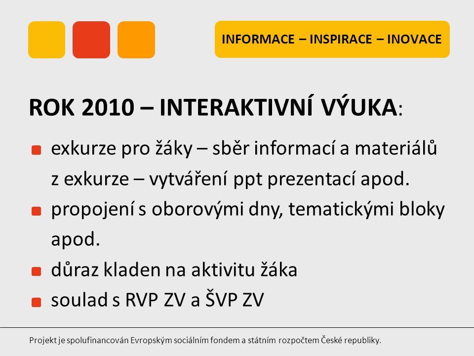 INFORMACE – INSPIRACE – INOVACE Projekt je spolufinancován Evropským sociálním fondem a státním rozpočtem České republiky. exkurze pro žáky – sběr inf