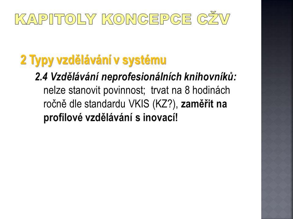 2 Typy vzdělávání v systému 2.4 Vzdělávání neprofesionálních knihovníků: nelze stanovit povinnost; trvat na 8 hodinách ročně dle standardu VKIS (KZ?),