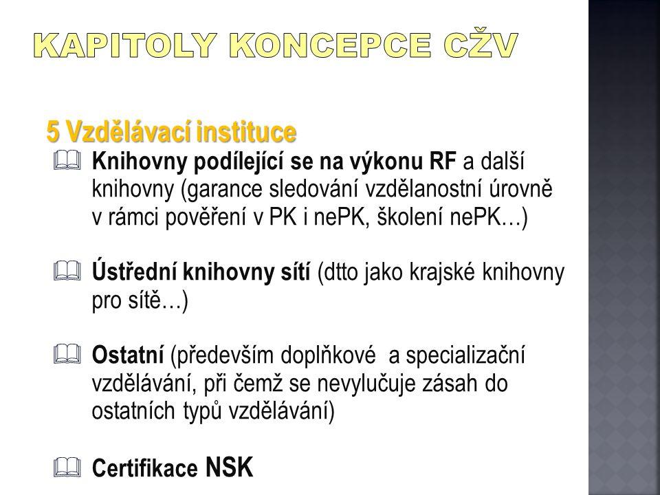 5 Vzdělávací instituce  Knihovny podílející se na výkonu RF a další knihovny (garance sledování vzdělanostní úrovně v rámci pověření v PK i nePK, ško