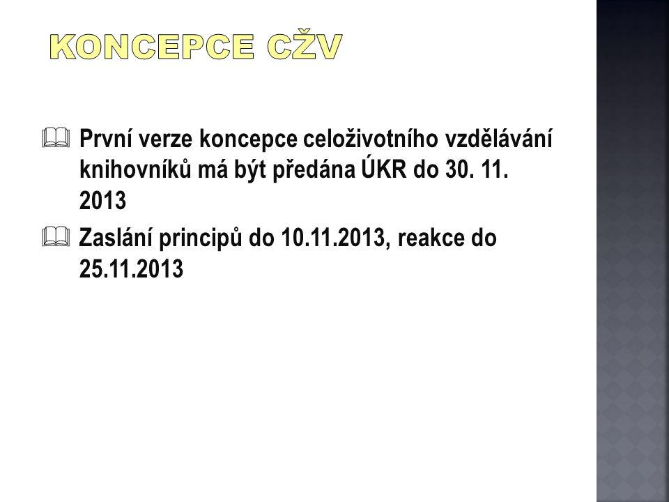  První verze koncepce celoživotního vzdělávání knihovníků má být předána ÚKR do 30. 11. 2013  Zaslání principů do 10.11.2013, reakce do 25.11.2013
