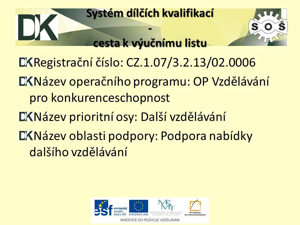 Systém dílčích kvalifikací - cesta k výučnímu listu Registrační číslo: CZ.1.07/3.2.13/02.0006 Název operačního programu: OP Vzdělávání pro konkurenceschopnost Název prioritní osy: Další vzdělávání Název oblasti podpory: Podpora nabídky dalšího vzdělávání