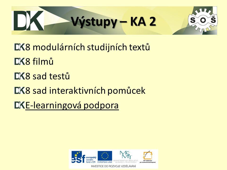 Výstupy – KA 2 8 modulárních studijních textů 8 filmů 8 sad testů 8 sad interaktivních pomůcek E-learningová podpora