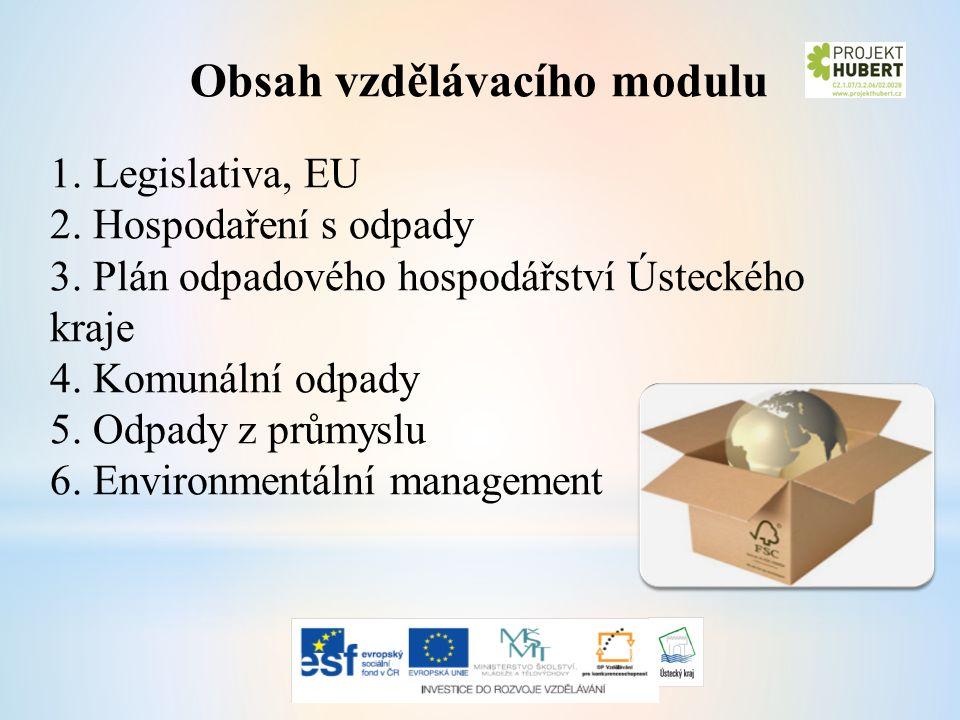 Obsah vzdělávacího modulu 1. Legislativa, EU 2. Hospodaření s odpady 3.