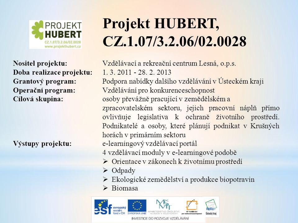Projekt HUBERT, CZ.1.07/3.2.06/02.0028 Nositel projektu: Vzdělávací a rekreační centrum Lesná, o.p.s.