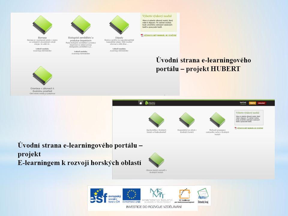 Úvodní strana e-learningového portálu – projekt HUBERT Úvodní strana e-learningového portálu – projekt E-learningem k rozvoji horských oblastí