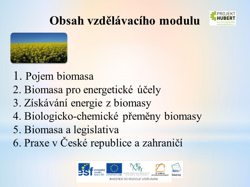 Obsah vzdělávacího modulu 1. Pojem biomasa 2. Biomasa pro energetické účely 3.