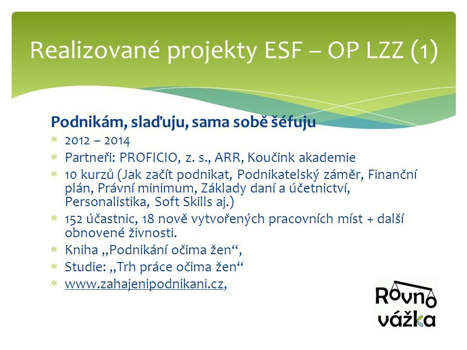 Podnikám, slaďuju, sama sobě šéfuju  2012 – 2014  Partneři: PROFICIO, z.