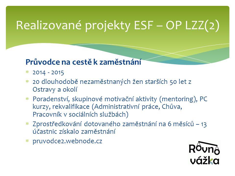 Průvodce na cestě k zaměstnání  2014 - 2015  20 dlouhodobě nezaměstnaných žen starších 50 let z Ostravy a okolí  Poradenství, skupinové motivační a