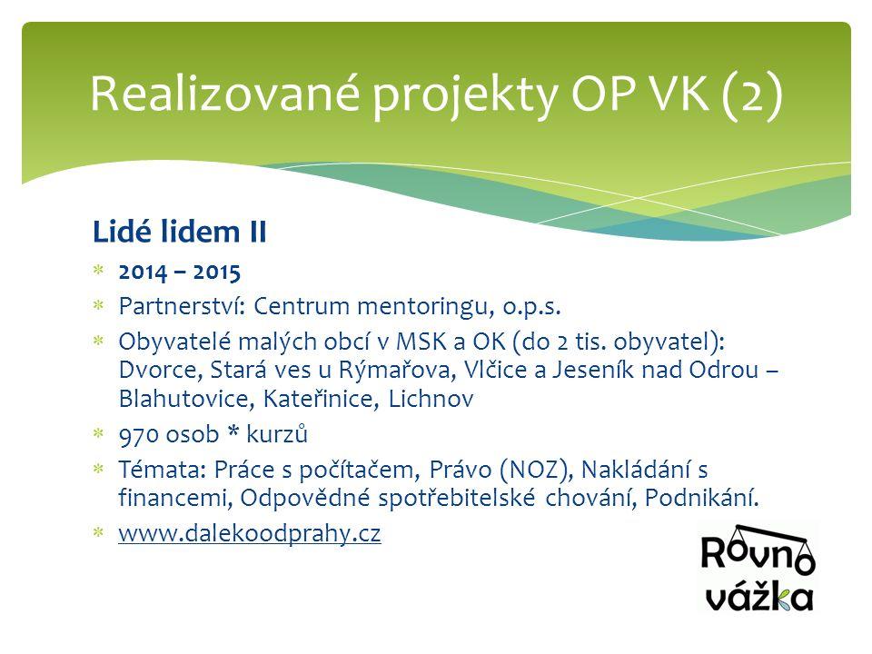 Lidé lidem II  2014 – 2015  Partnerství: Centrum mentoringu, o.p.s.  Obyvatelé malých obcí v MSK a OK (do 2 tis. obyvatel): Dvorce, Stará ves u Rým