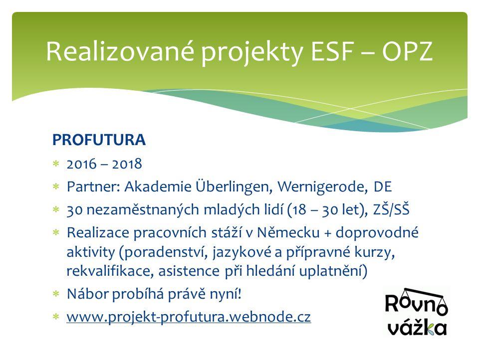 PROFUTURA  2016 – 2018  Partner: Akademie Überlingen, Wernigerode, DE  30 nezaměstnaných mladých lidí (18 – 30 let), ZŠ/SŠ  Realizace pracovních s