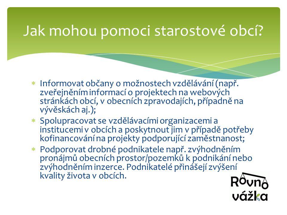  Informovat občany o možnostech vzdělávání (např. zveřejněním informací o projektech na webových stránkách obcí, v obecních zpravodajích, případně na