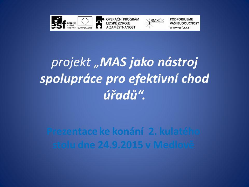 """projekt """"MAS jako nástroj spolupráce pro efektivní chod úřadů ."""