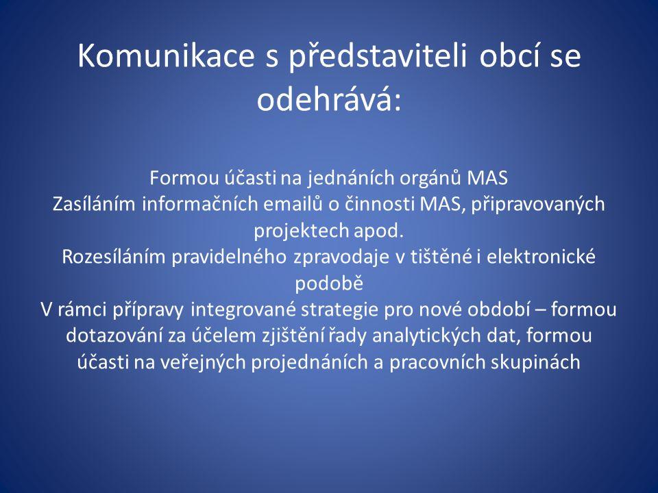 Komunikace s představiteli obcí se odehrává: Formou účasti na jednáních orgánů MAS Zasíláním informačních emailů o činnosti MAS, připravovaných projektech apod.