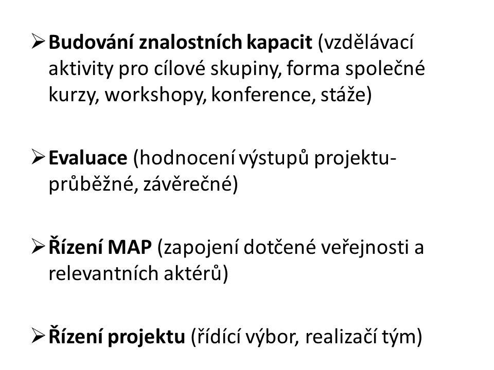  Budování znalostních kapacit (vzdělávací aktivity pro cílové skupiny, forma společné kurzy, workshopy, konference, stáže)  Evaluace (hodnocení výstupů projektu- průběžné, závěrečné)  Řízení MAP (zapojení dotčené veřejnosti a relevantních aktérů)  Řízení projektu (řídící výbor, realizačí tým)
