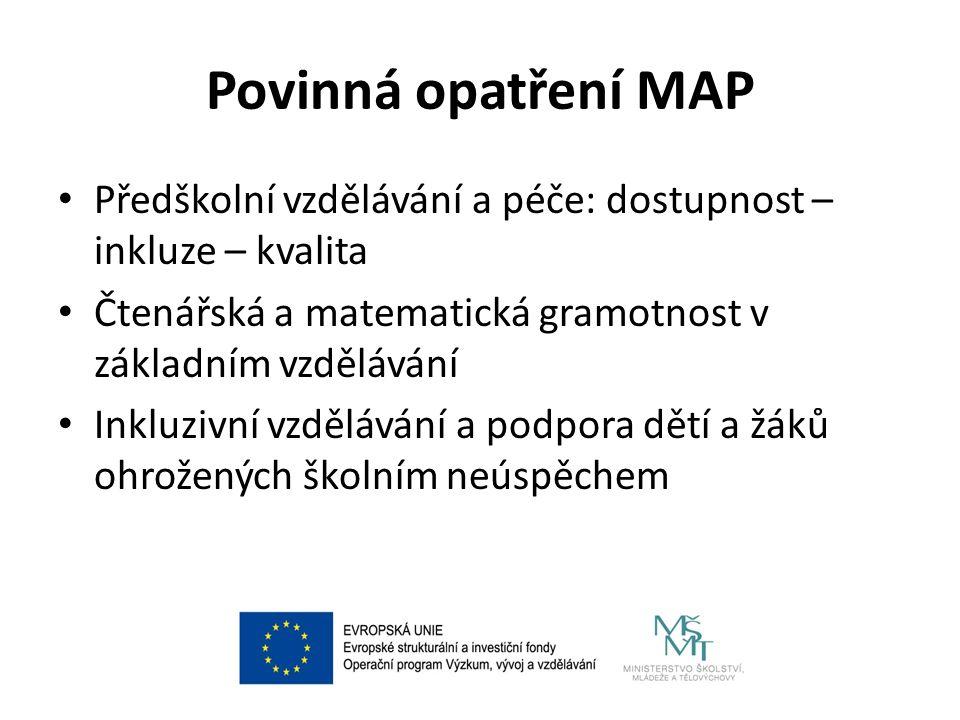 Povinná opatření MAP Předškolní vzdělávání a péče: dostupnost – inkluze – kvalita Čtenářská a matematická gramotnost v základním vzdělávání Inkluzivní vzdělávání a podpora dětí a žáků ohrožených školním neúspěchem