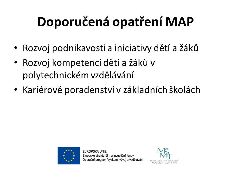 Doporučená opatření MAP Rozvoj podnikavosti a iniciativy dětí a žáků Rozvoj kompetencí dětí a žáků v polytechnickém vzdělávání Kariérové poradenství v