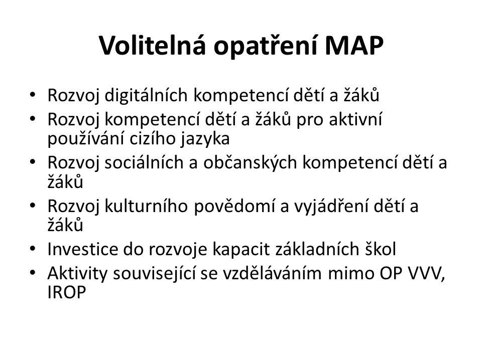 Volitelná opatření MAP Rozvoj digitálních kompetencí dětí a žáků Rozvoj kompetencí dětí a žáků pro aktivní používání cizího jazyka Rozvoj sociálních a