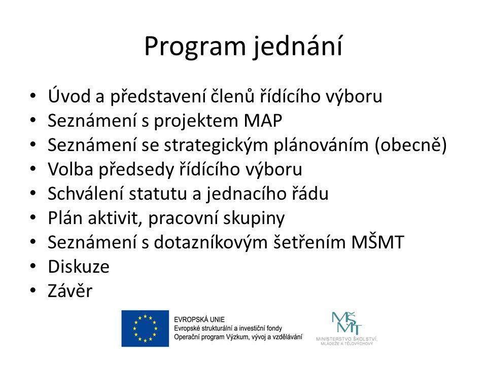 Program jednání Úvod a představení členů řídícího výboru Seznámení s projektem MAP Seznámení se strategickým plánováním (obecně) Volba předsedy řídící