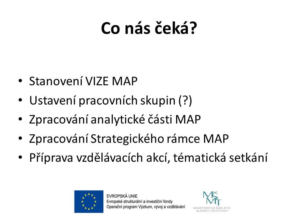Co nás čeká? Stanovení VIZE MAP Ustavení pracovních skupin (?) Zpracování analytické části MAP Zpracování Strategického rámce MAP Příprava vzdělávacíc