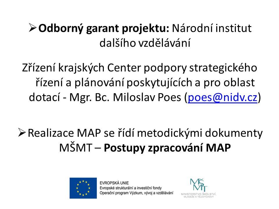  Odborný garant projektu: Národní institut dalšího vzdělávání Zřízení krajských Center podpory strategického řízení a plánování poskytujících a pro oblast dotací - Mgr.