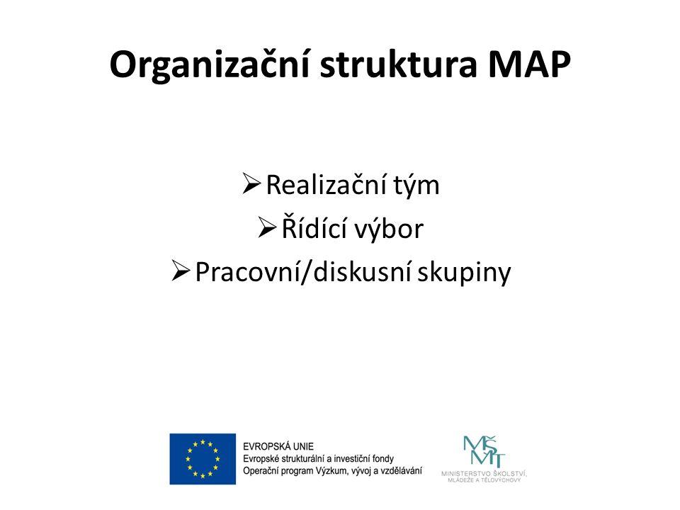 Organizační struktura MAP  Realizační tým  Řídící výbor  Pracovní/diskusní skupiny