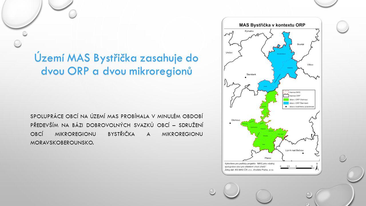 Území MAS Bystřička zasahuje do dvou ORP a dvou mikroregionů SPOLUPRÁCE OBCÍ NA ÚZEMÍ MAS PROBÍHALA V MINULÉM OBDOBÍ PŘEDEVŠÍM NA BÁZI DOBROVOLNÝCH SVAZKŮ OBCÍ – SDRUŽENÍ OBCÍ MIKROREGIONU BYSTŘIČKA A MIKROREGIONU MORAVSKOBEROUNSKO.