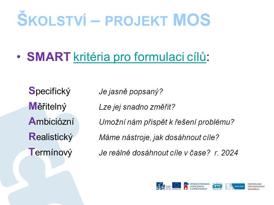 Š KOLSTVÍ – PROJEKT MOS SMART kritéria pro formulaci cílů:kritéria pro formulaci cílů S pecifický Je jasně popsaný.