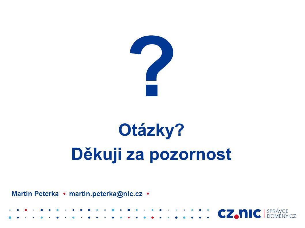 ? Otázky? Děkuji za pozornost Martin Peterka martin.peterka@nic.cz